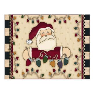Carte postale d'ampoules de Noël de Santa