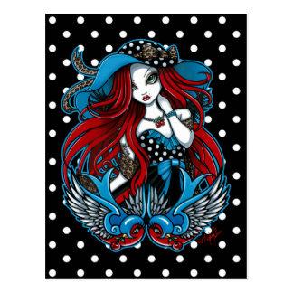 Carte postale d'ange de tatouage d'hirondelle de