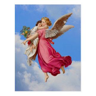 Carte postale d'ange gardien et d'enfant