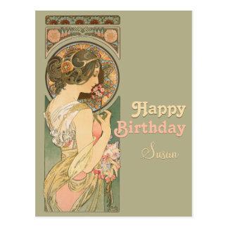 Carte postale d'anniversaire de la primevère