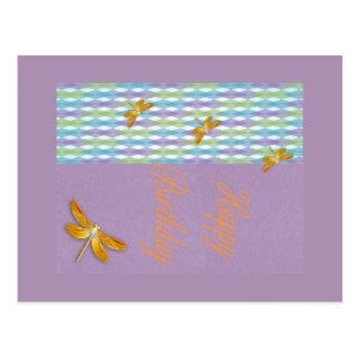 Carte postale d'anniversaire de libellule