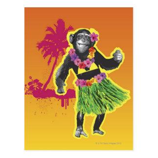Carte Postale Danse de danse polynésienne de chimpanzé