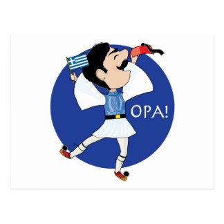 Carte Postale Danse d'Evzone de Grec avec le drapeau OPA !