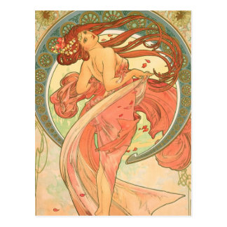 Carte Postale Danse vintage par Alphonse Mucha