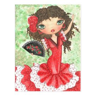 """Carte Postale """"Danseur de flamenco avec la fan """""""