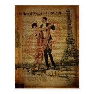 Carte Postale danseurs romantiques de salle de bal de valse de