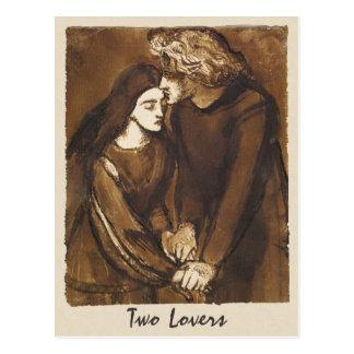 Carte Postale Dante Gabriel Rossetti deux amants 1850