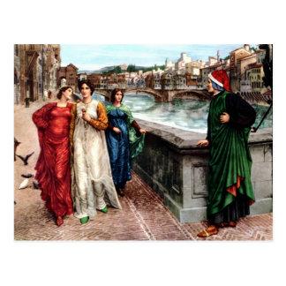 Carte Postale Dante rencontre Béatrice dans la peinture de