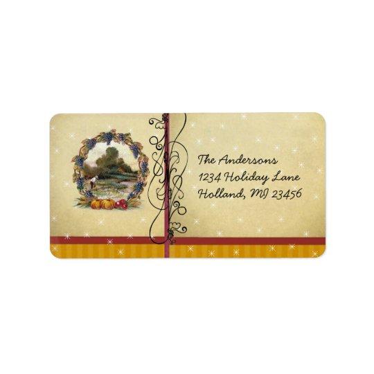 Carte postale d'antiquité de scène de récolte de étiquette d'adresse