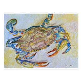 Carte postale d'aquarelle de crabe bleu
