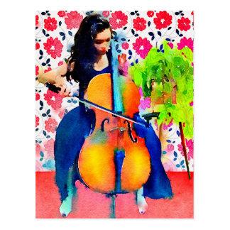 Carte postale d'aquarelle de violoncelliste