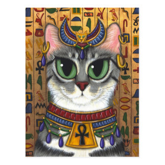 Carte postale d'art de chat de Bastet d'Egyptienne