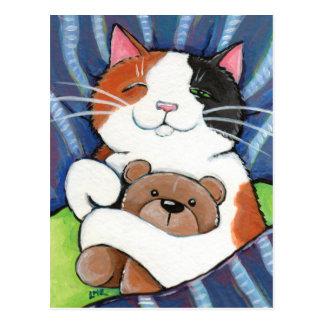 Carte postale d'art de chat de chat de calicot et