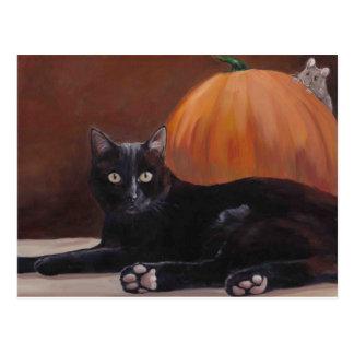 """Carte postale d'art de chat noir de """"coup d'?il"""""""