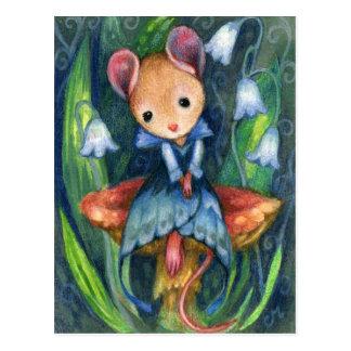 Carte postale d'art de conte de fées de champignon