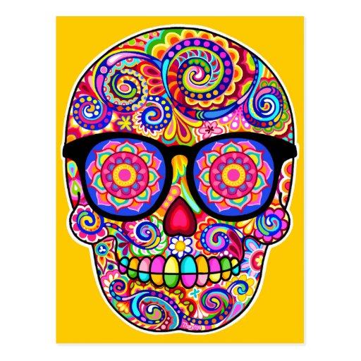Carte postale d'art de crâne de sucre de hippie