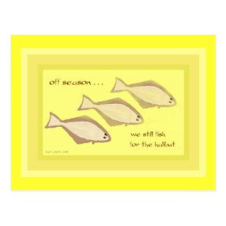 Carte postale d'art de Haiku de flétan - carte