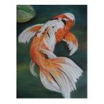 Dessin d 39 aquarelle de carpe de koi cartes postales zazzle for Koi papillon