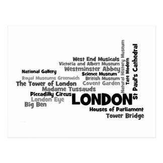 Carte postale d'art des textes de Londres