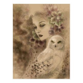 Carte postale d'art d'imaginaire de hibou de Milou