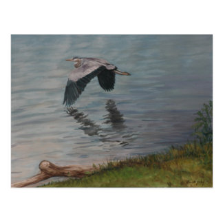 Carte postale d'art d'oiseau de héron de grand