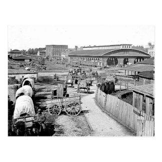 Carte postale d'Atlanta de dépôt de 1864 chemins