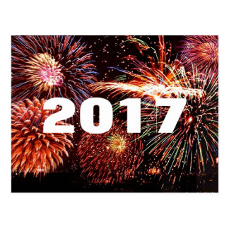 Carte postale de 2017 feux d'artifice