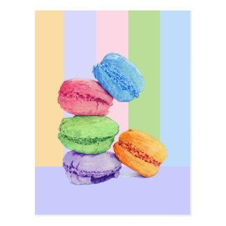 Carte postale de 5 rayures de Macarons
