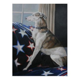 Carte postale de attente d'art de chien de whippet