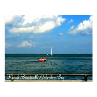 Carte postale de baie de Galveston de promenade de