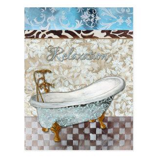 Carte postale de baignoire de relaxation