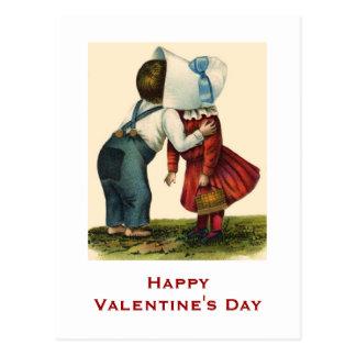 Carte postale de baiser de Saint-Valentin vintage