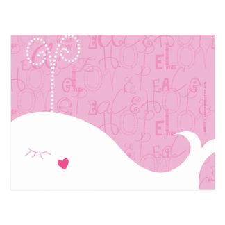 Carte postale de baleine d'espoir de paix d'amour