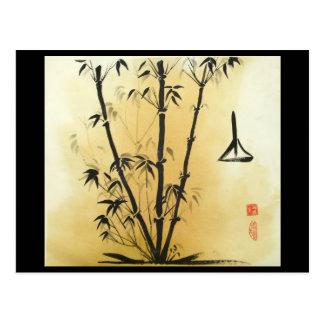 Carte postale de bambou d'équilibre