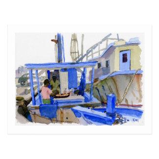 Carte postale de bateau de poissons de potiers