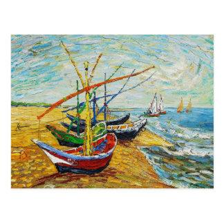Carte postale de bateaux de pêche de Van Gogh