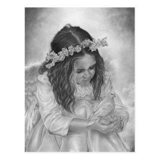 Carte postale de bénédictions de colombe de fille