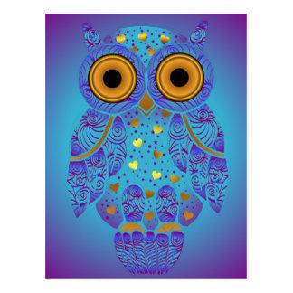 Carte postale de bleus de hibou de H00t