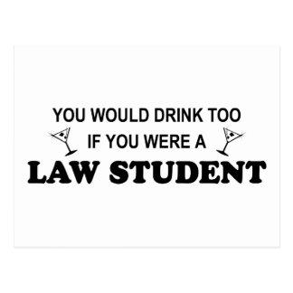 Carte Postale De boissons étudiant en droit trop -