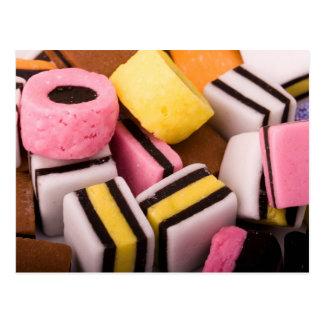 Carte postale de bonbons à réglisse