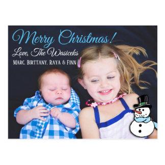 Carte postale de bonhomme de neige de photo de