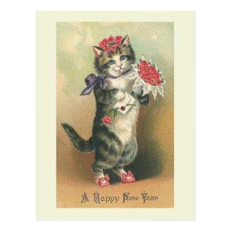 """Carte postale """"de bonne année vintage de chat"""""""
