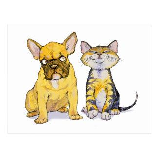 Carte postale de bouledogue français et de chaton