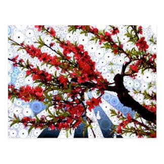 Carte postale de branche de fleur de framboise et