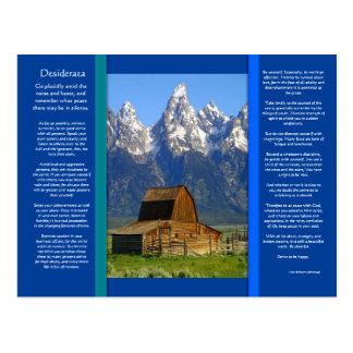 Carte postale de cabine de montagne de DESIDERATA
