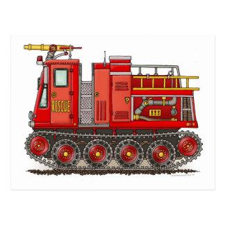 Carte postale de camion de pompiers de voie