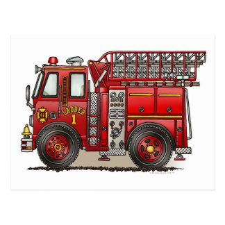Carte postale de camion de pompiers d'échelle