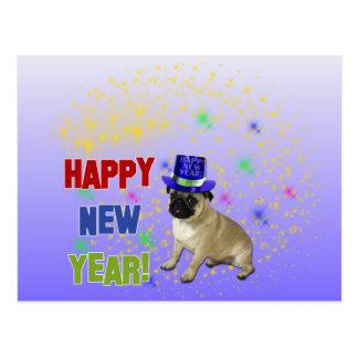 Carte postale de carlin de bonne année
