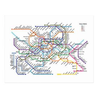 Carte postale de carte de métro de Séoul