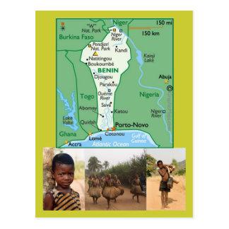 Carte postale de carte du Bénin